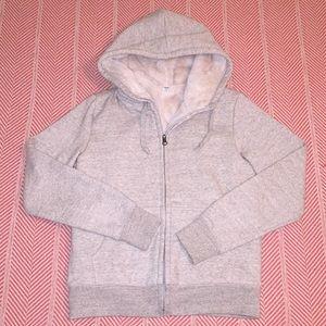 Uniqlo Pile Lined Sweatshirt Gray Small